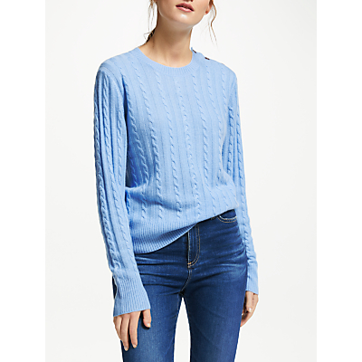 Collection WEEKEND by John Lewis Cashmere Cable Knit Crew Neck Jumper, Soft Blue