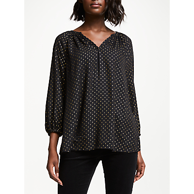 Collection WEEKEND by John Lewis Gold Diamond Foil Print Lavina Top, Black/Gold