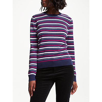 Collection WEEKEND by John Lewis Cashmere Vintage Stripe Jumper, Berry
