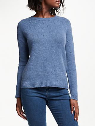 Collection WEEKEND by John Lewis Crew Neck Chunky Cashmere Marl Jumper, Mid Blue