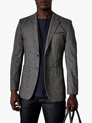 Buy Ted Baker Tankjo Plain Weave Wool Cashmere Blazer, Grey Marl, 42L Online at johnlewis.com