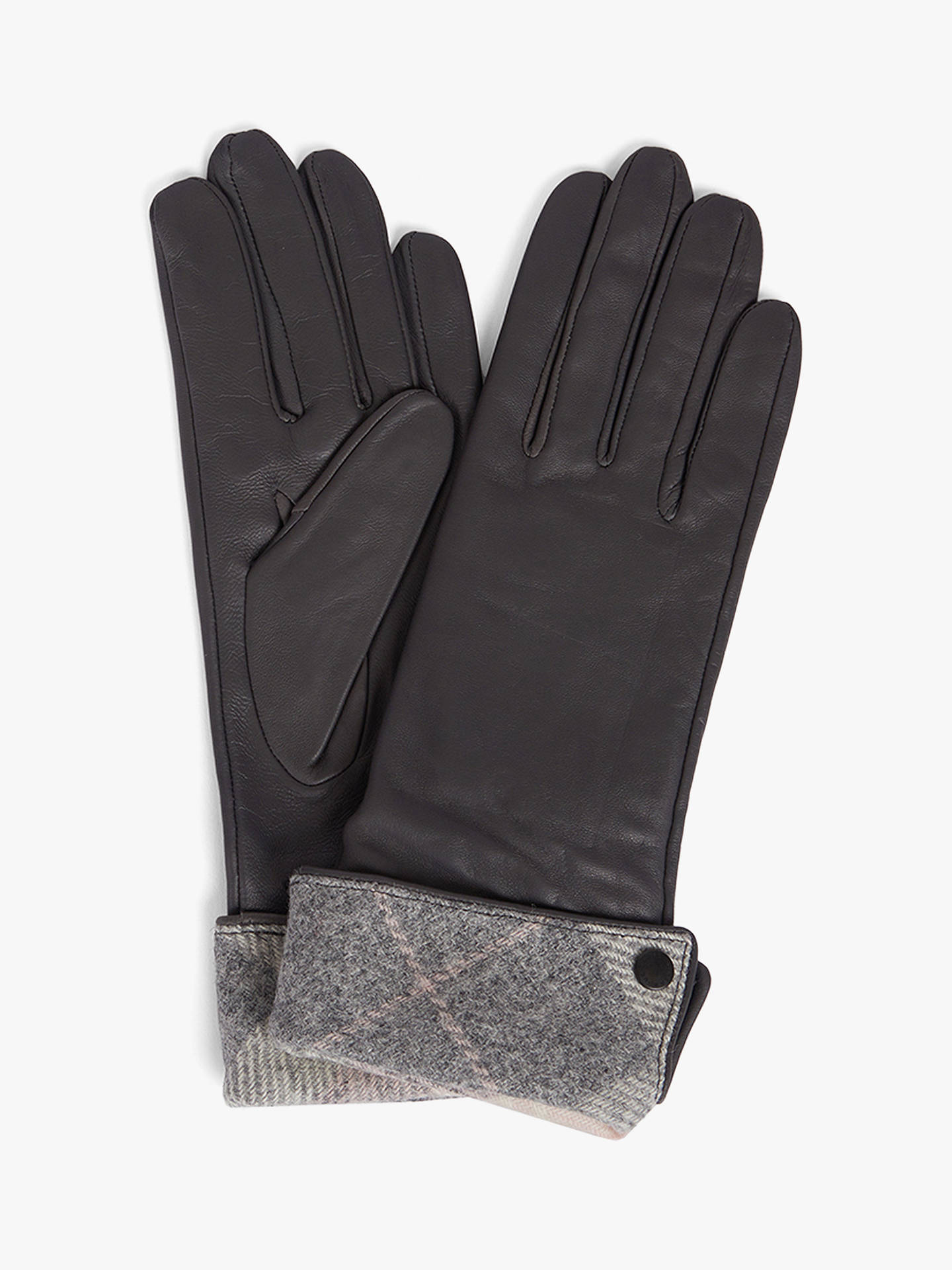 Buy Barbour Lady Jane Leather Gloves, Grey Mix, S Online at johnlewis.com