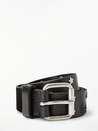 John Lewis & Partners Star Stud Jeans Leather Belt, Black