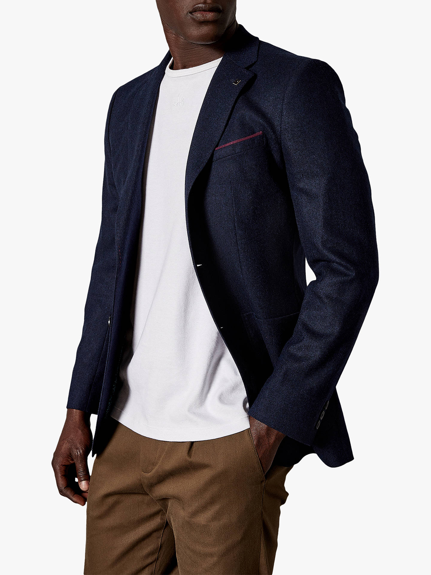 Buy Ted Baker Tankjo Plain Weave Wool Cashmere Blazer, Navy Marl, 44R Online at johnlewis.com