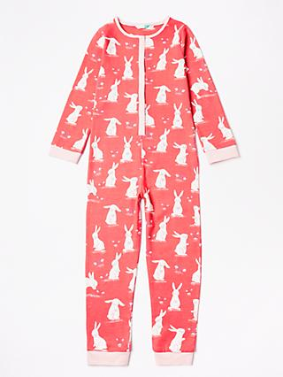 John Lewis & Partners Girls' Bunny Friends Onesie, Pink