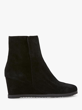 Buy John Lewis & Partners Designed for Comfort Pigeon Wedge Heel Suede Boots, Black, 6 Online at johnlewis.com