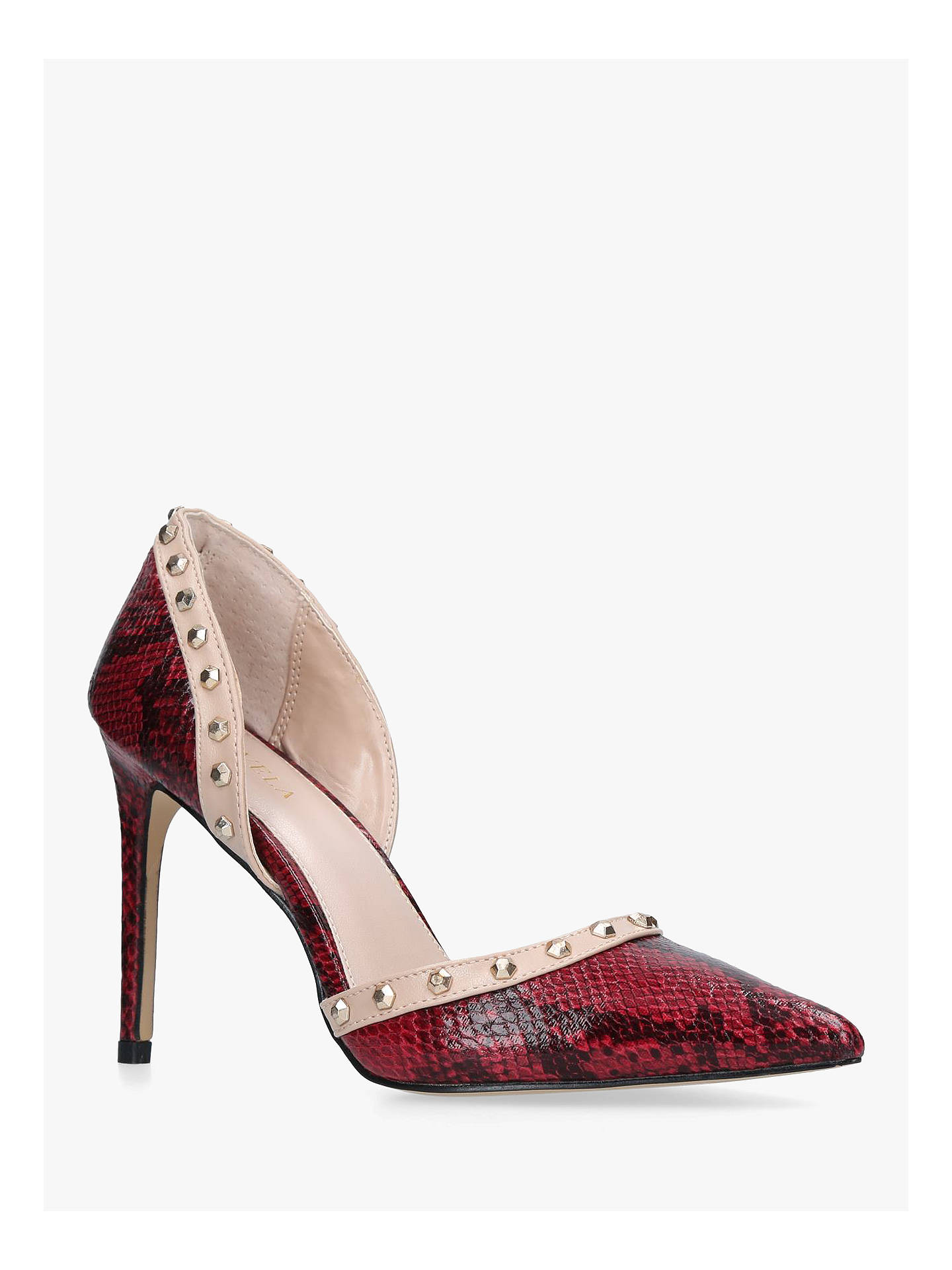 BuyCarvela Kosmic Studded Two Part Court Shoes, Red, 3 Online at johnlewis.com