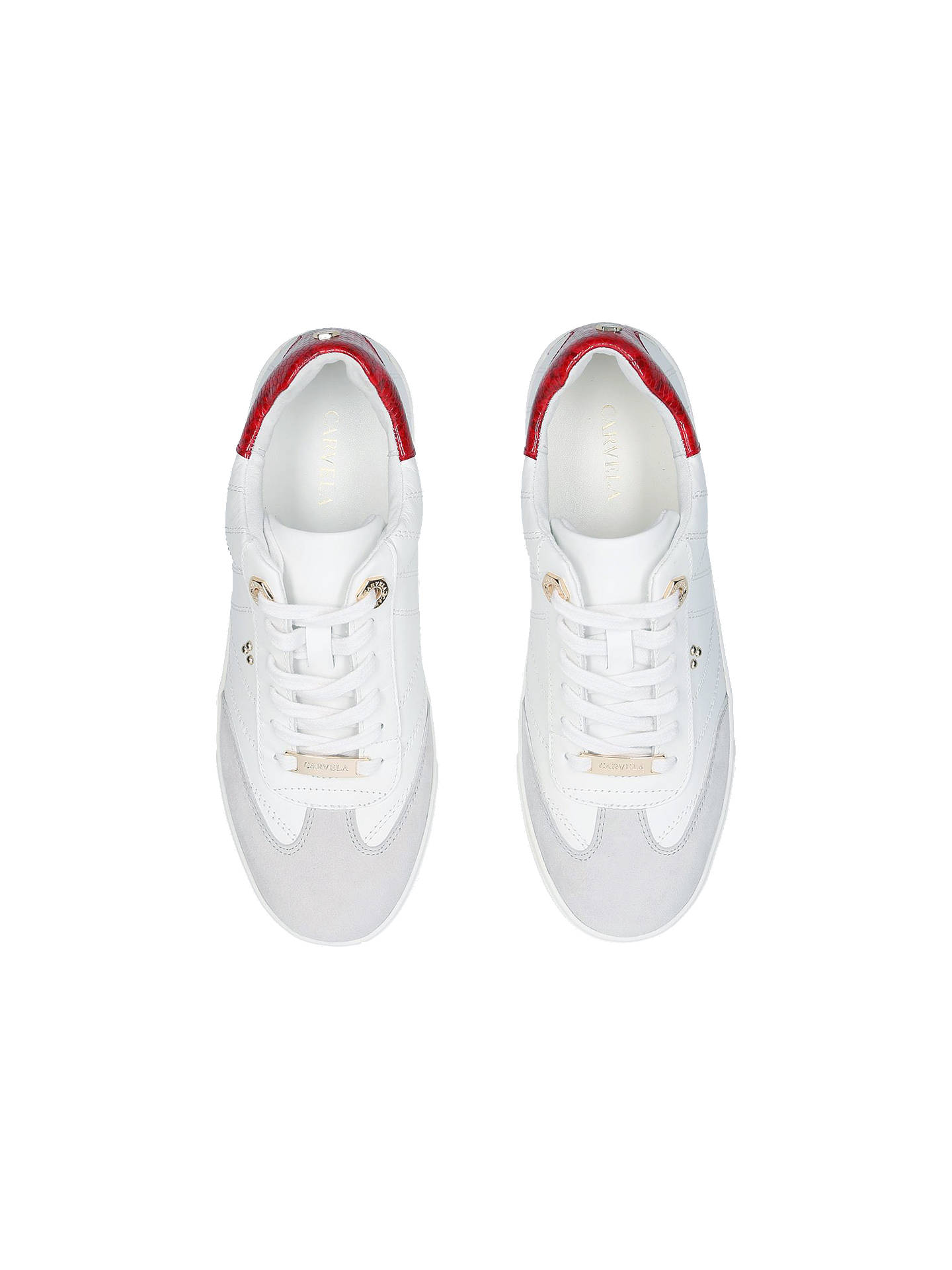 Buy Carvela Lost Lace Up Trainers, White Leather, 3 Online at johnlewis.com