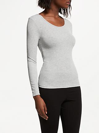 John Lewis & Partners Heat Generating Ribbed Long Sleeve Thermal Top, Grey