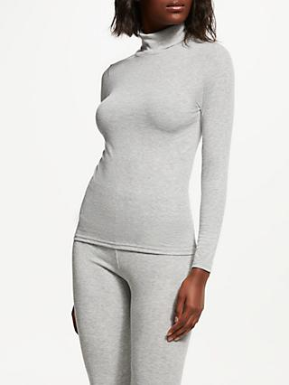John Lewis & Partners Heat Generating Ribbed Roll Neck Thermal Top, Grey