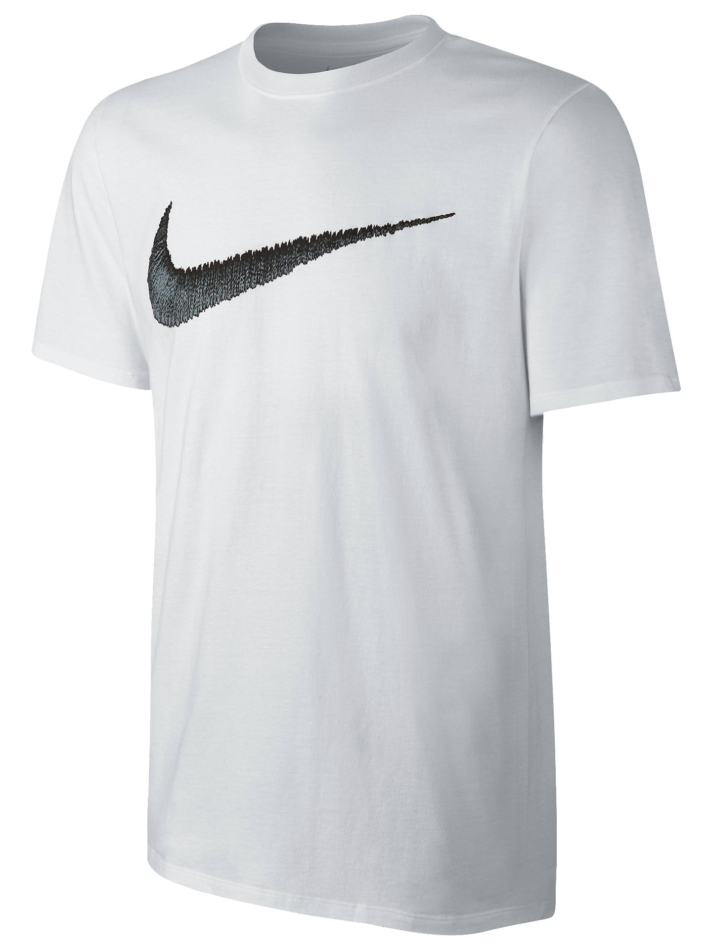28d68c7d6 Buy Nike Sportswear Swoosh Cotton T-Shirt, White, S Online at johnlewis.