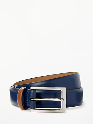 John Lewis Looper Leather Belt, Blue