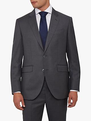 Hackett London Sharkskin Wool Tailored Suit Jacket, Charcoal