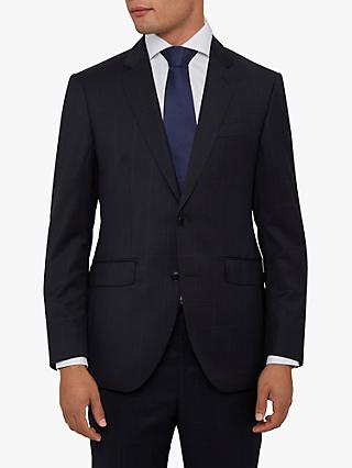 Hackett London Windowpane Check Tailored Suit Jacket, Navy