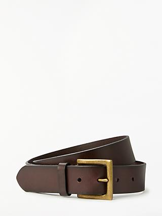 John Lewis & Partners Casual Leather Belt, Brown