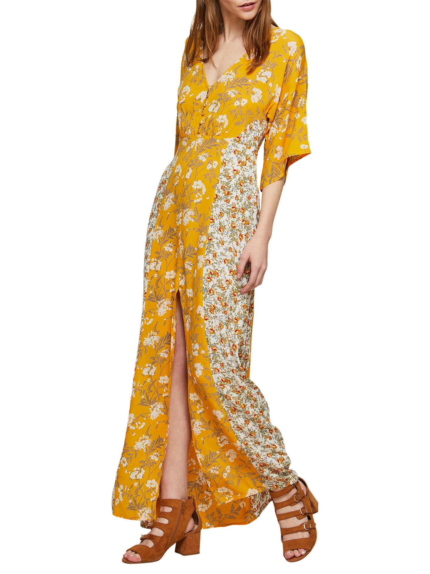 Miss Selfridge Floral Print Button Kimono Maxi Dress, Yellow at John ...