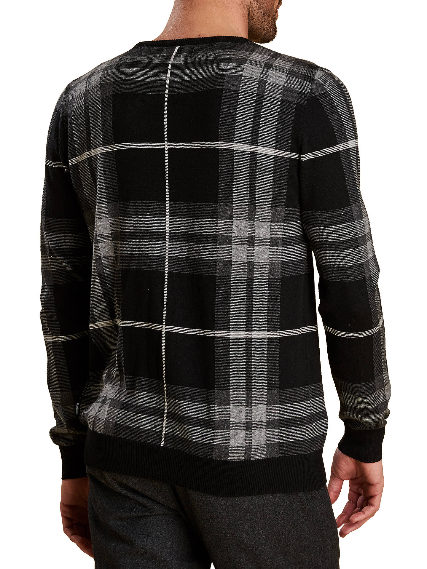 Buy Barbour Tartan Jacquard Jumper, Grey, L Online at johnlewis.com