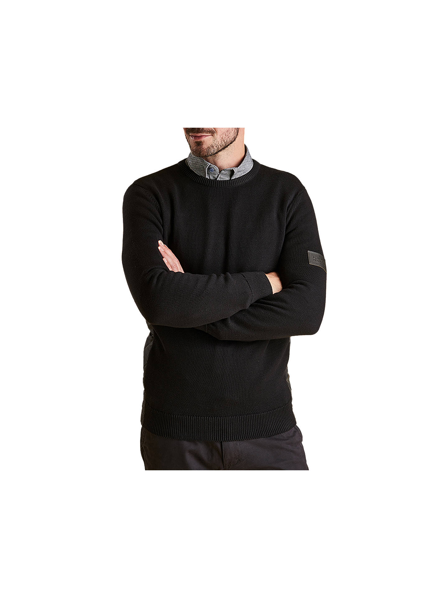 BuyBarbour Land Rover Defender Qulilt Panel Jumper, Black, XL Online at johnlewis.com