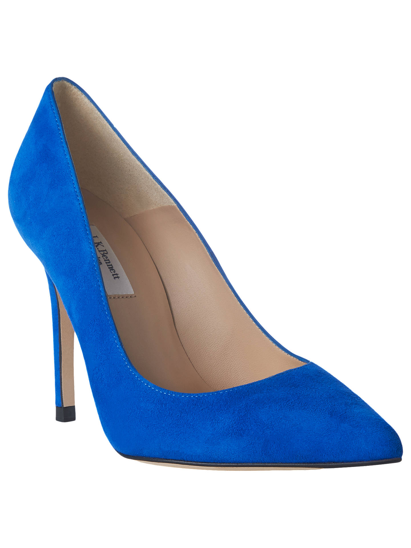 BuyL.K.Bennett Fern Court Shoes, Bright Blue Suede, 3 Online at johnlewis.com