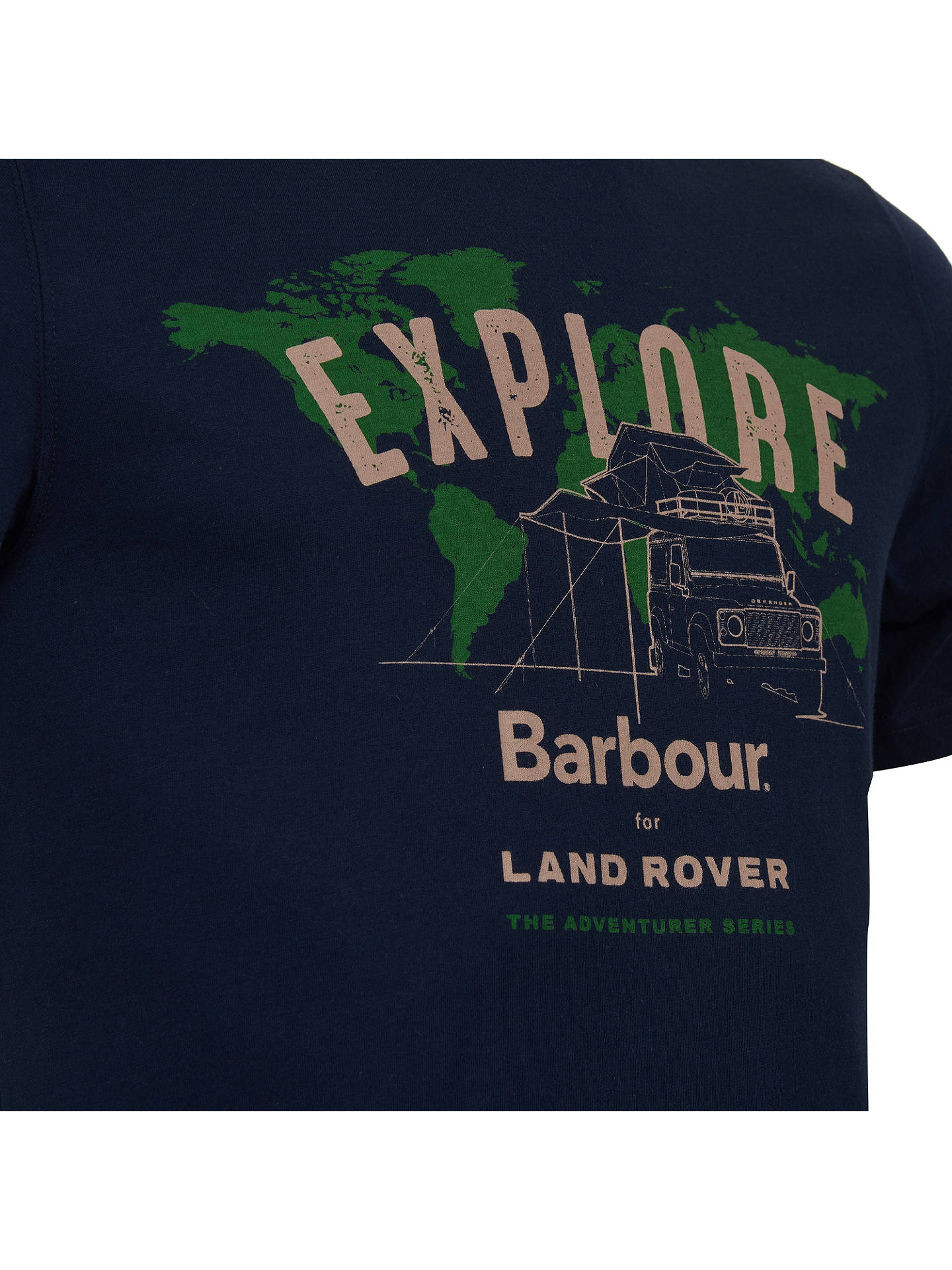 Buy Barbour Land Rover Defender Explore Graphic Print T-Shirt, Navy, M Online at johnlewis.com