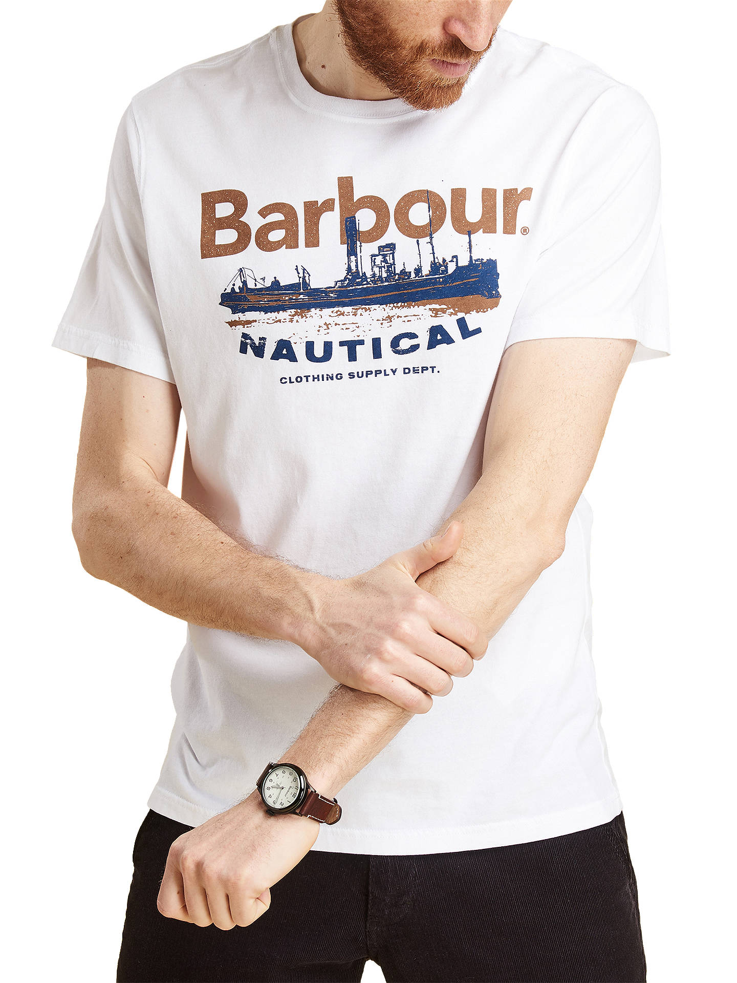 BuyBarbour Short Sleeve Pilot T-Shirt, White, M Online at johnlewis.com