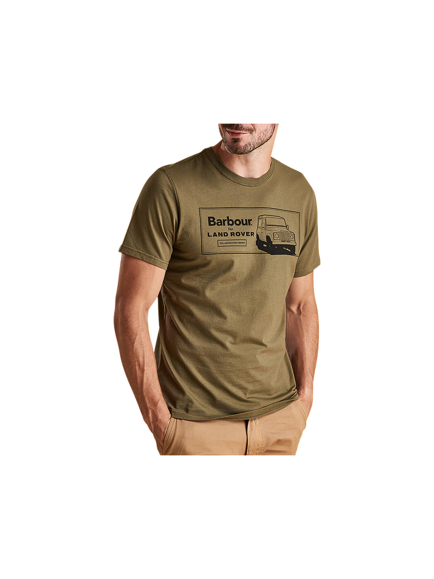 Buy Barbour Land Rover Defender Short Sleeve Logo T-Shirt, Green, S Online at johnlewis.com