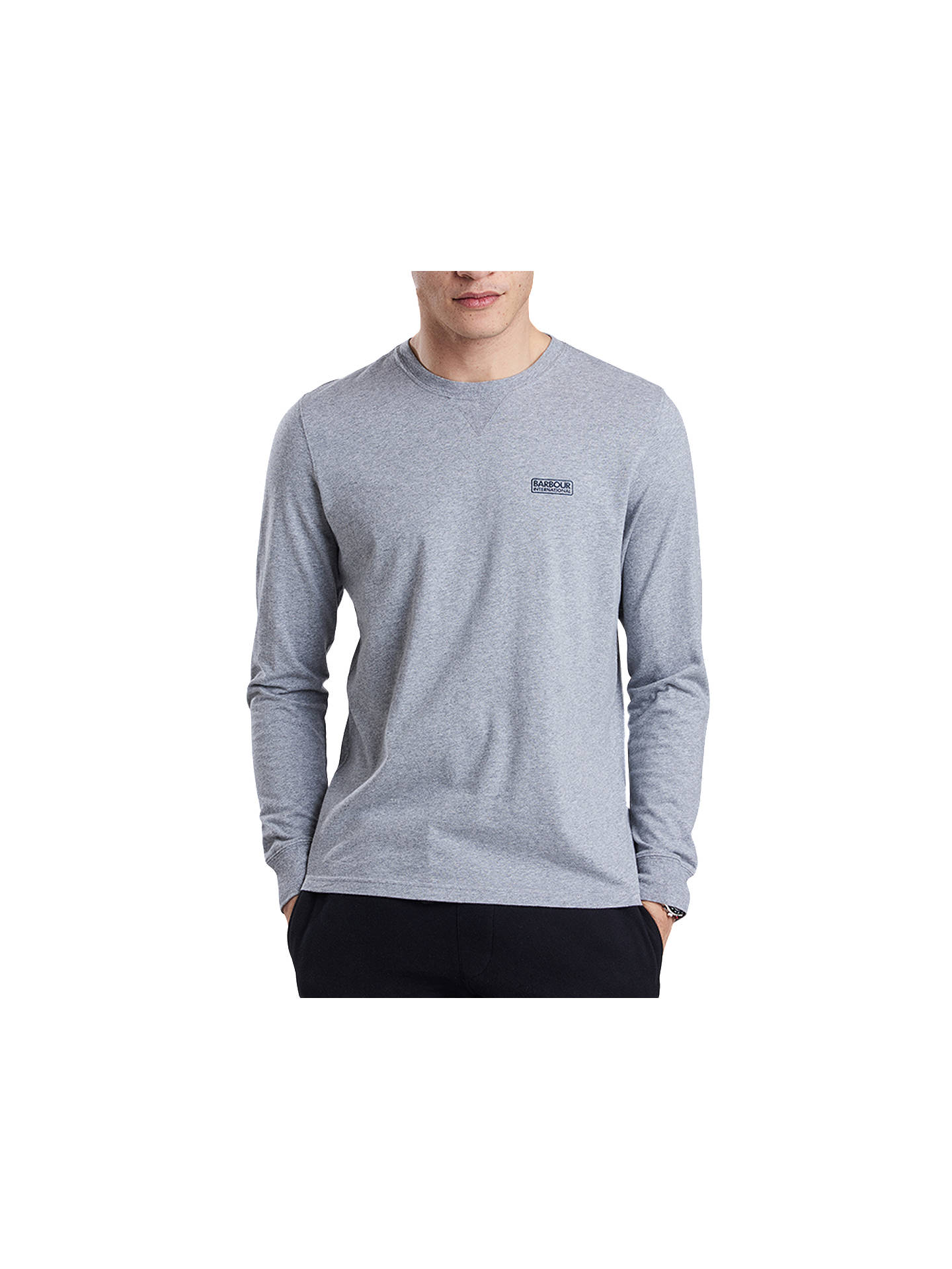 BuyBarbour Internationa Long Sleeve Logo T-Shirt, Grey, L Online at johnlewis.com