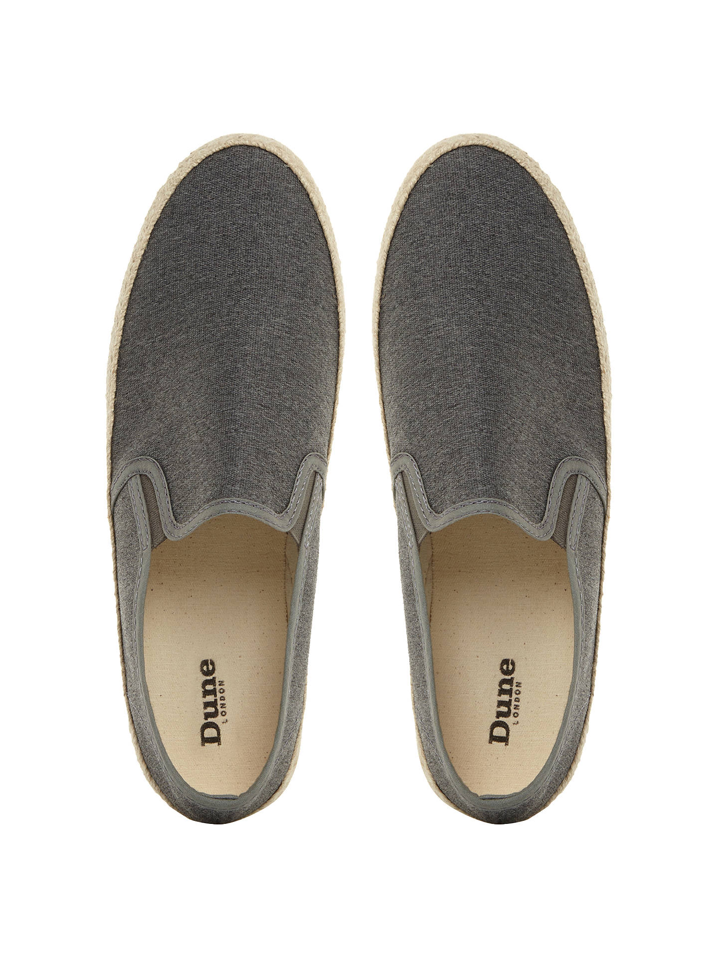 BuyDune Ferdinand Slip On Espadrilles, Grey, 6 Online at johnlewis.com