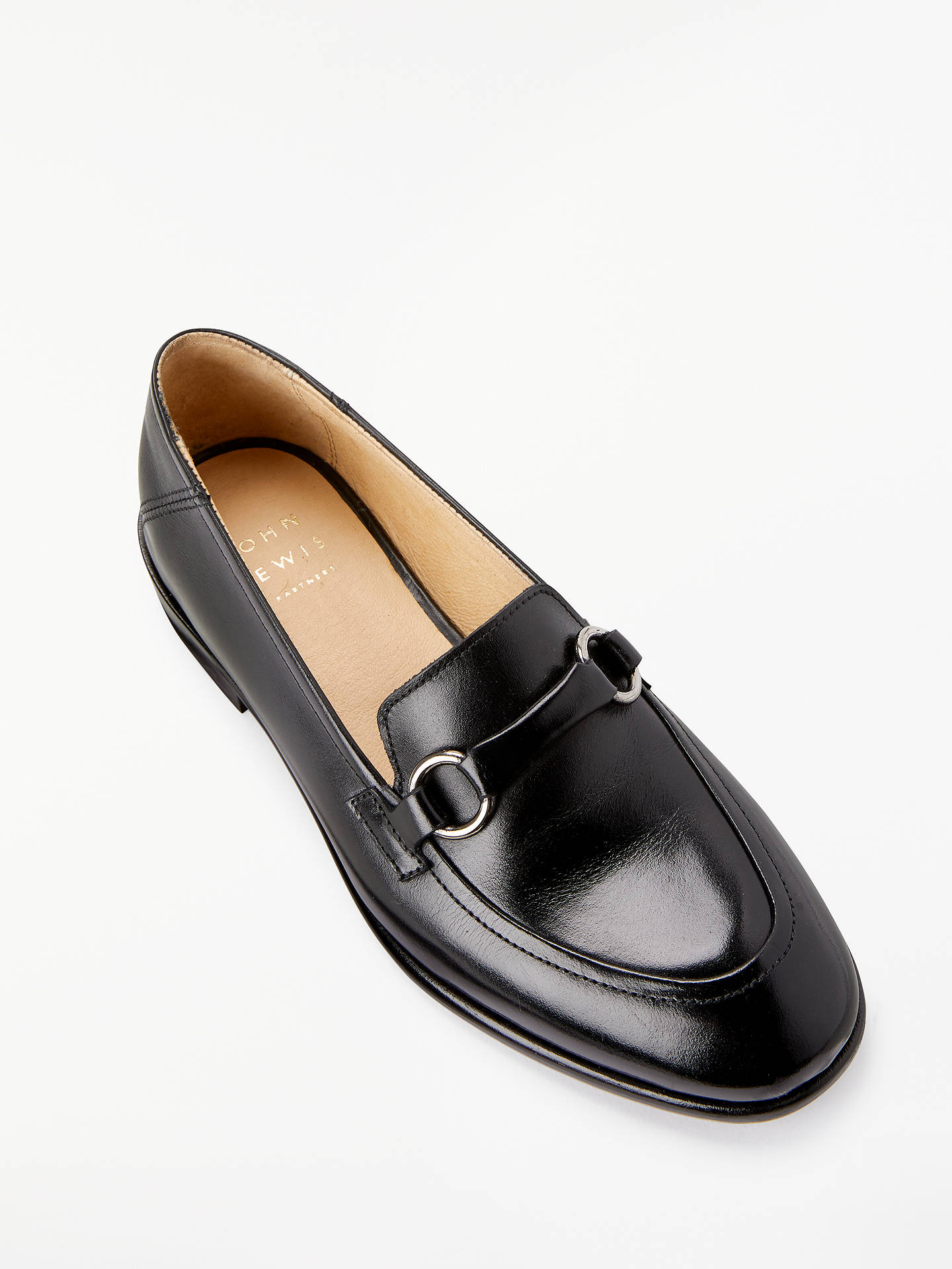 Buy John Lewis & Partners Genevieve Trimmed Loafers, Black Leather, 6 Online at johnlewis.com