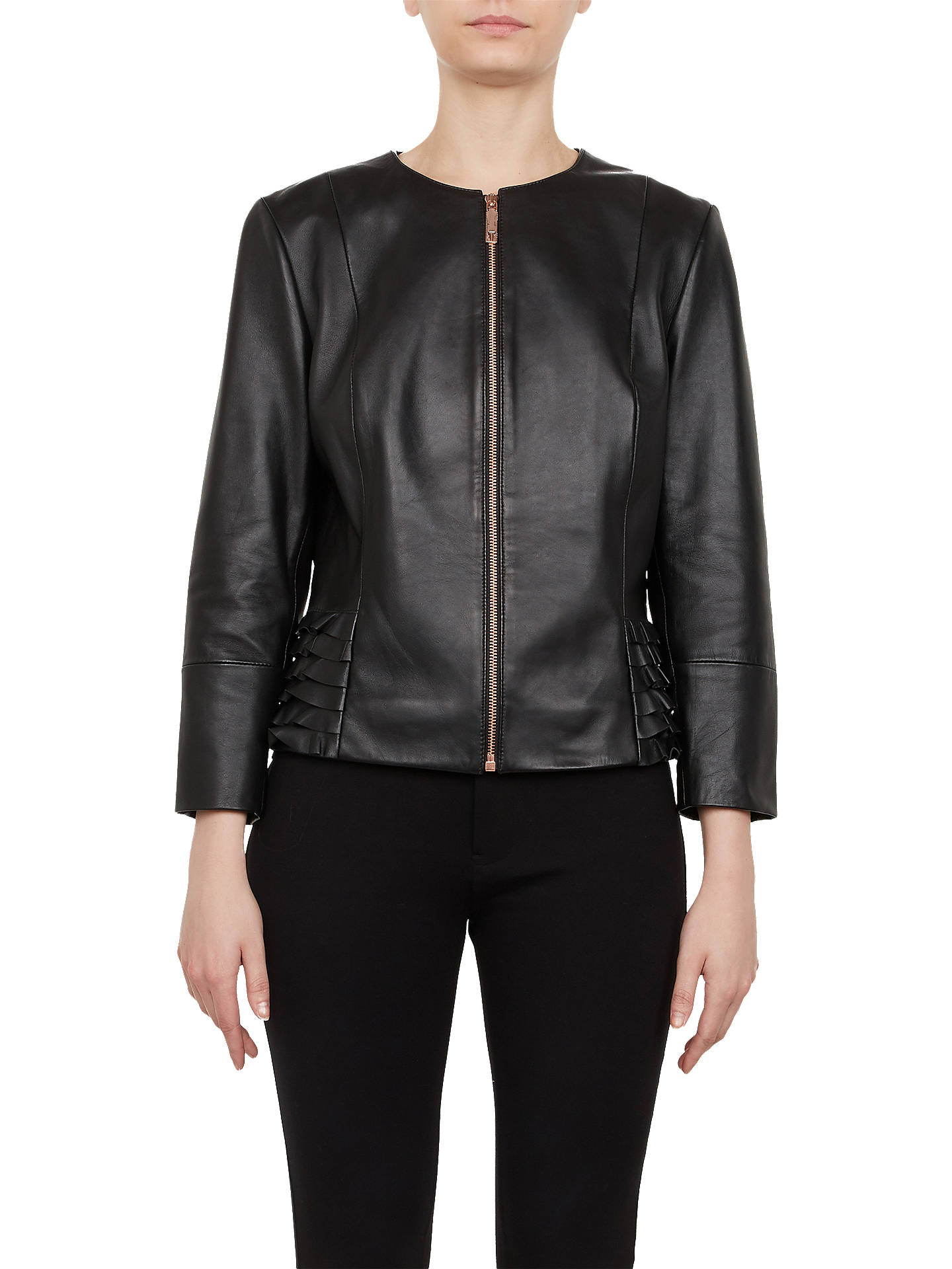 Buy Ted Baker Taila Frill Detail Leather Jacket, Black, 16 Online at johnlewis.com