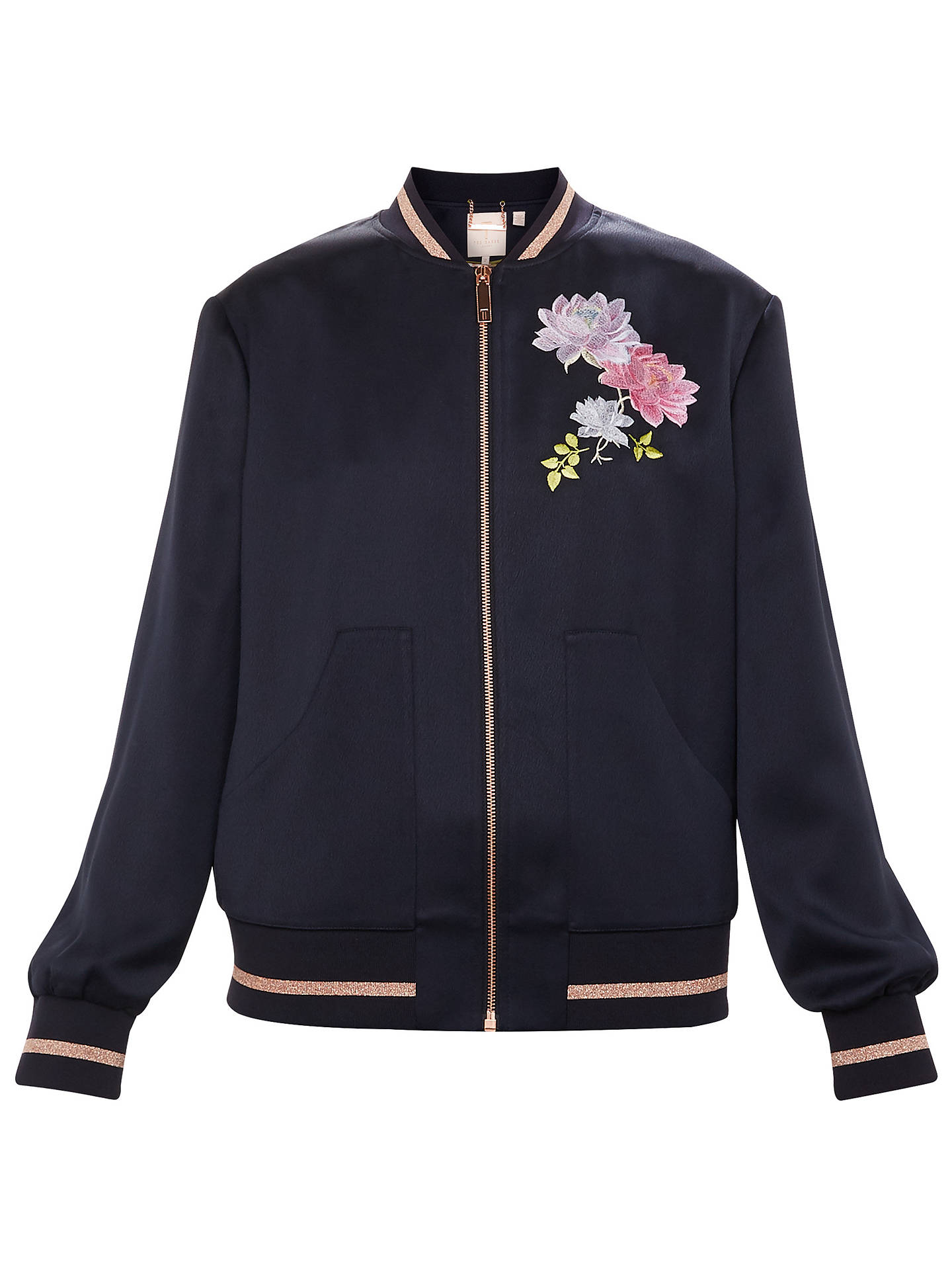 Buy Ted Baker Ruuthe Floral Embroidered Bomber Jacket, Blue, 5 Online at johnlewis.com