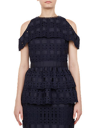 Buy Ted Baker Fralane Lace Cold Shoulder Peplum Top, Navy, 8 Online at johnlewis.com