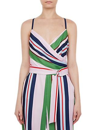 Ted Baker Canpala Bay of Honour Wide Stripe Wrap Neck Jumpsuit, Blush/Multi