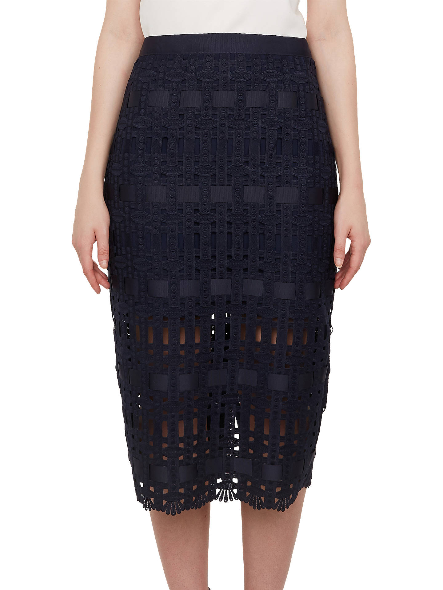 f7b3e60e9 Buy Ted Baker Aava Lace Grosgrain Pencil Skirt, Navy, 1 Online at johnlewis.