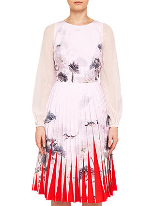 Buy Ted Baker Prticha Bell Sleeve Pleated Dress, Pink, 0 Online at johnlewis.com