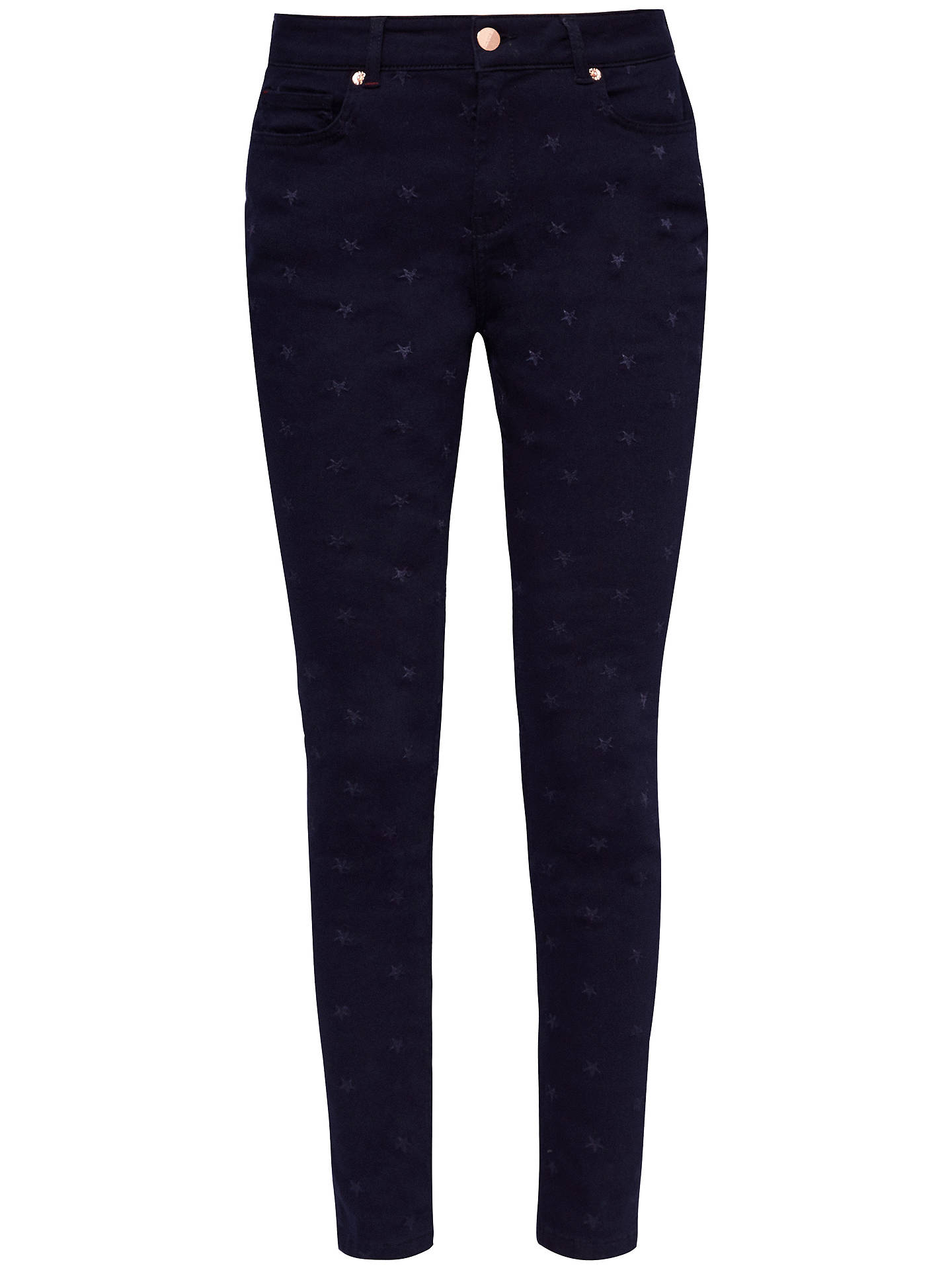 Buy Ted Baker Dahlene Star Embroidered Skinny Jeans, Blue, 30R Online at johnlewis.com