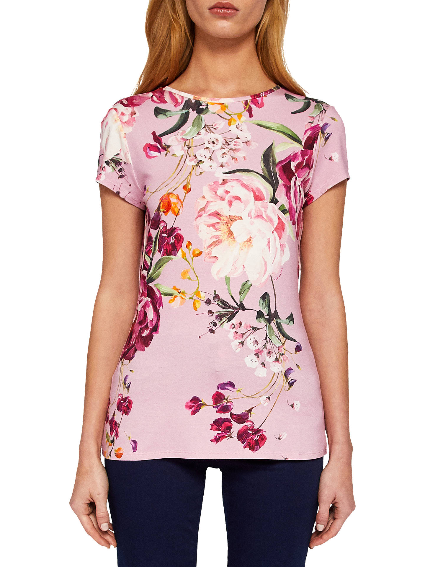 5a052709c Buy Ted Baker Evaai Serenity Print Fitted T-Shirt, Purple, 6 Online at ...