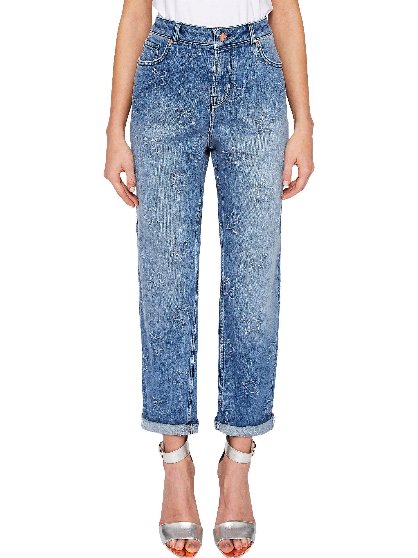 f9cd43649b6 Buy Ted Baker Lurra Star Abrasion Boyfriend Jeans, Blue, 26 Online at  johnlewis.