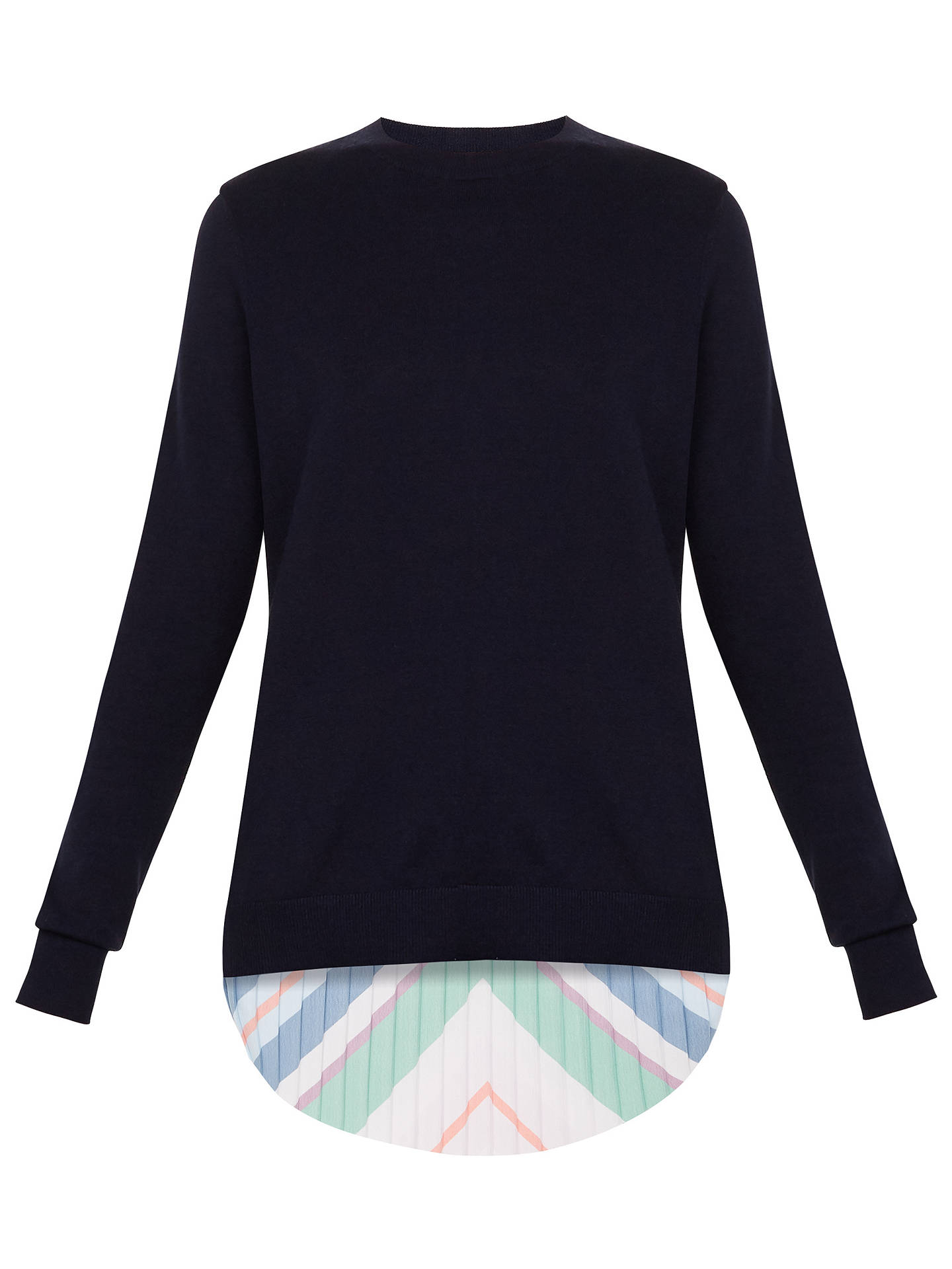 BuyTed Baker Jaymes Bay of Honour Pleat Back Jumper, Navy, 1 Online at johnlewis.com