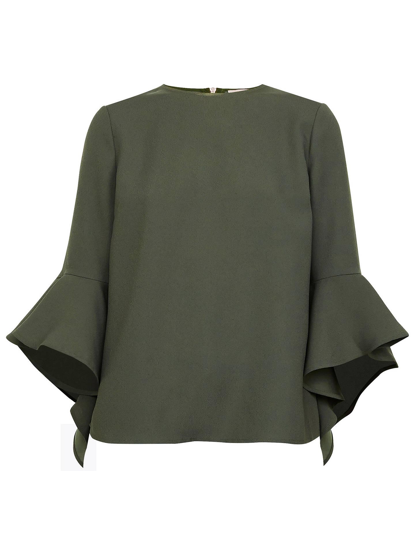 1da969cd4bc1 Buy Ted Baker Juula Waterfall Sleeve Top, Dark Green, 8 Online at johnlewis.