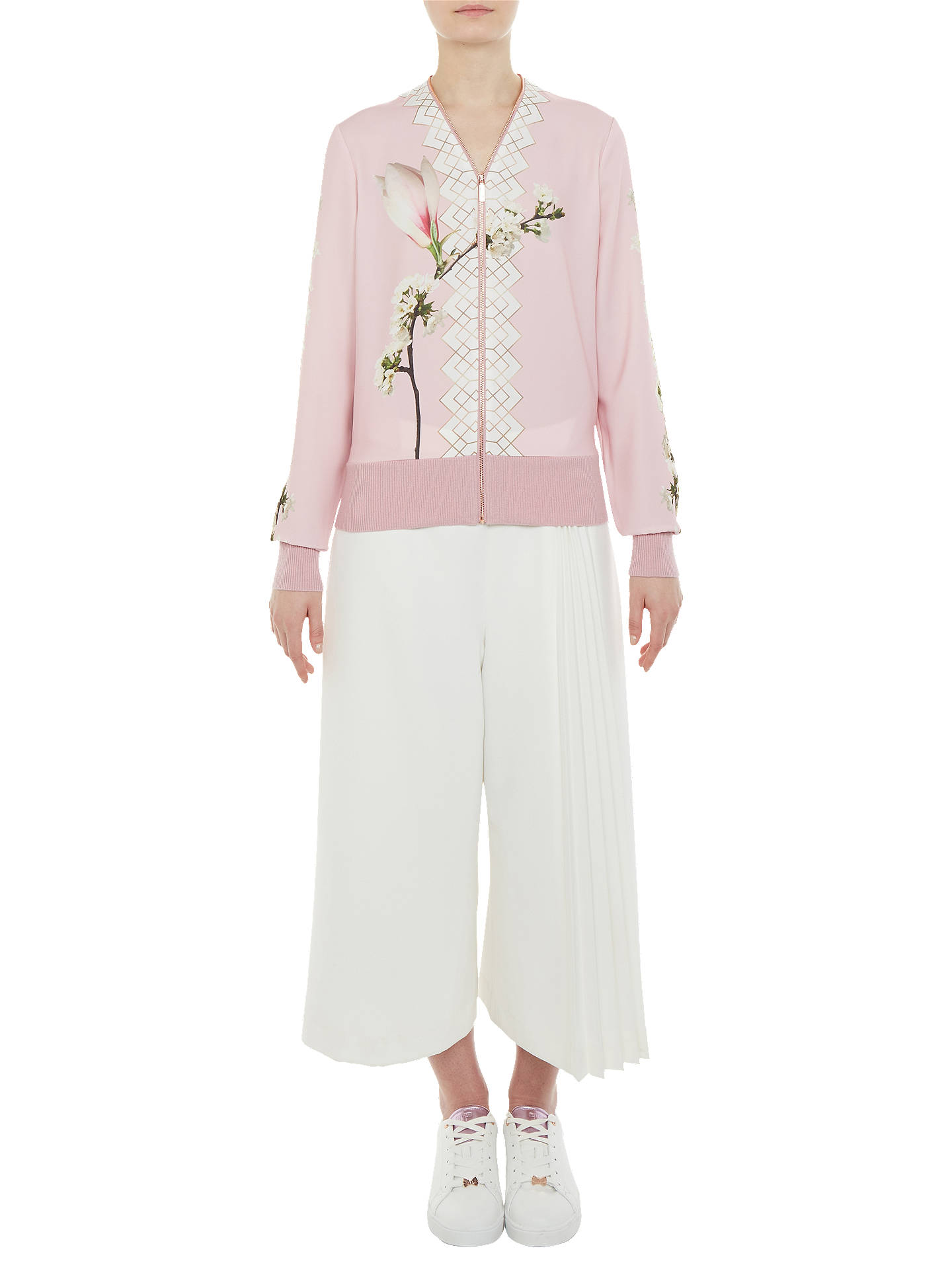 BuyTed Baker Harmony Print Zipped Cardigan, Pale Pink, 0 Online at johnlewis.com