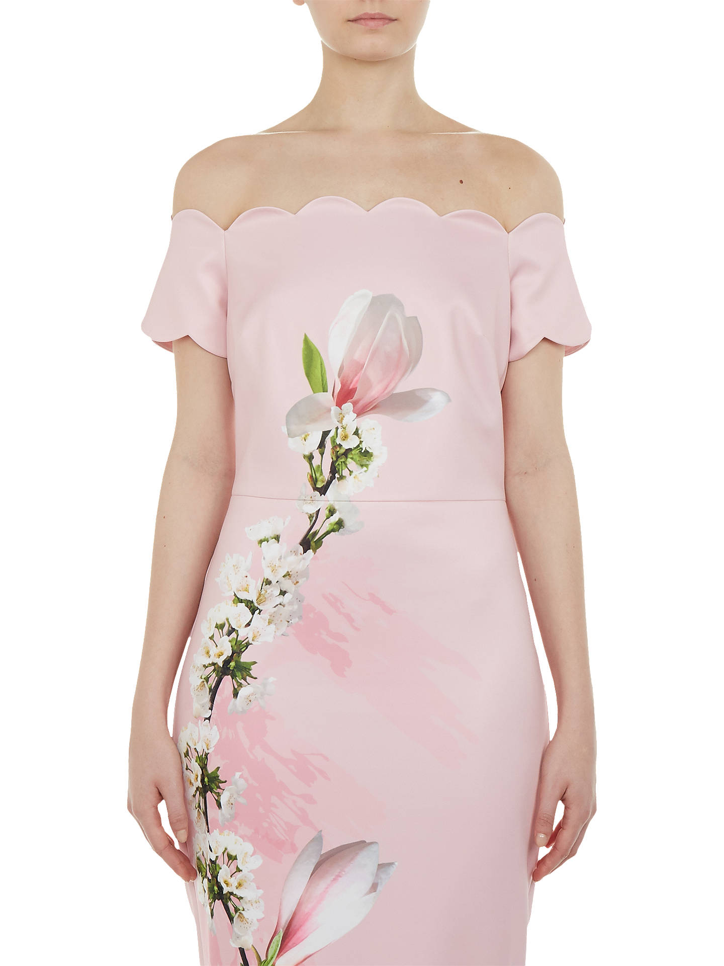 BuyTed Baker Olyva Scalloped Bodycon Dress, Pink, 0 Online at johnlewis.com