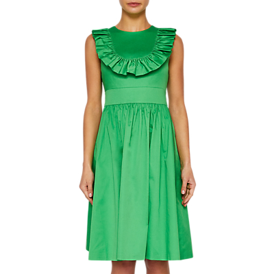 Ted Baker Awrah Ruffle Detail Flared Dress, Bright Green