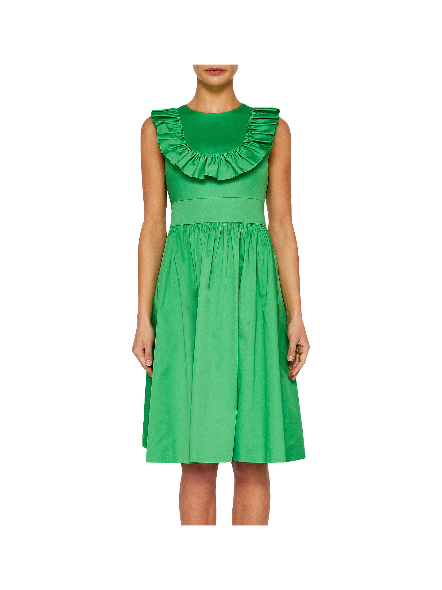 Buy Ted Baker Awrah Ruffle Detail Flared Dress, Bright Green, 0 Online at johnlewis.com
