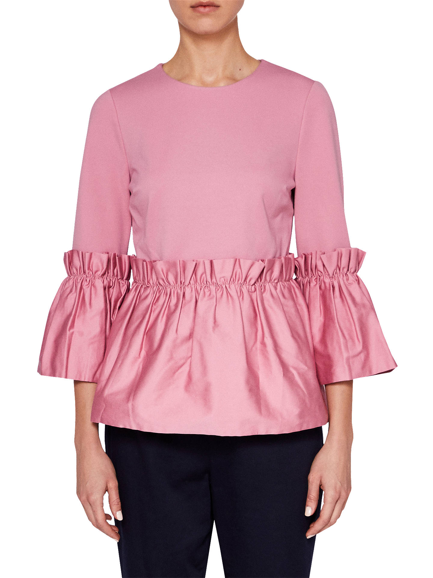 BuyTed Baker Sherrly Pleated Cropped Sleeve Top, Pink, 10 Online at johnlewis.com