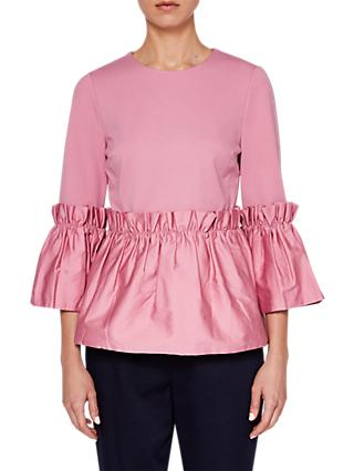 bb7f47501ef1a Ted Baker Sherrly Pleated Cropped Sleeve Top