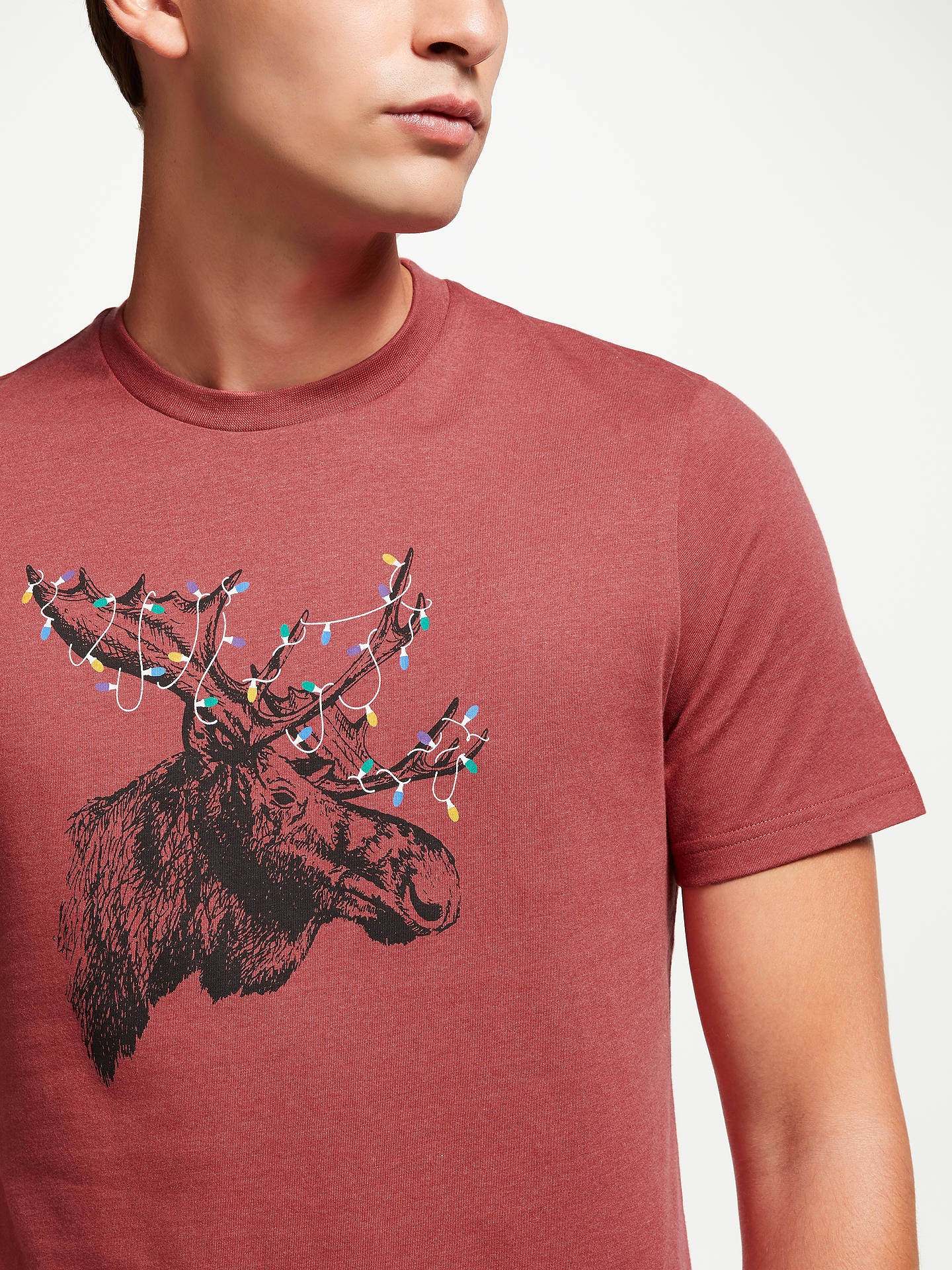 BuyJohn Lewis & Partners Christmas Moose T-Shirt, Red, L Online at johnlewis.com