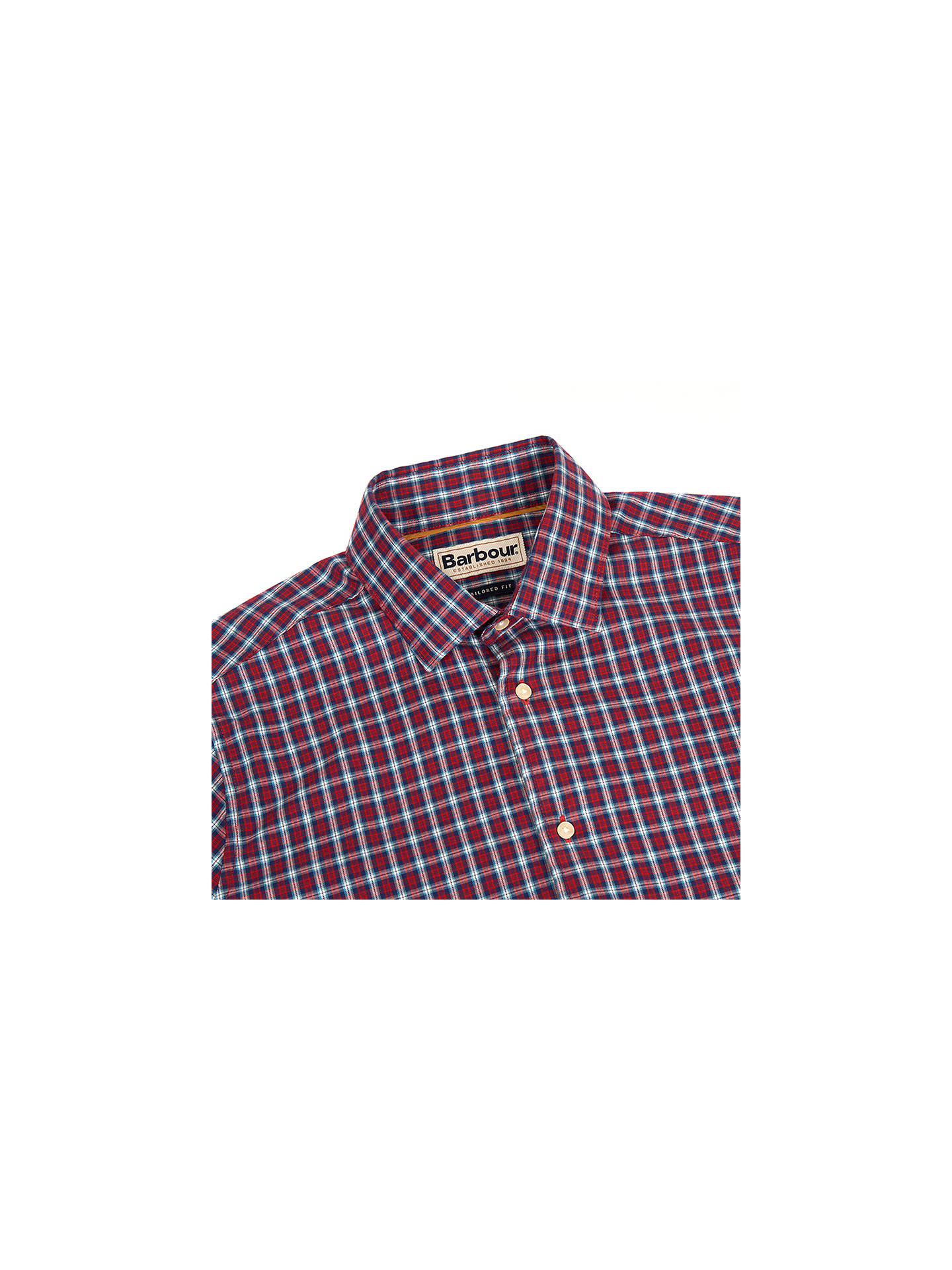 BuyBarbour Highfield Long Sleeve Micro Check Shirt, Red, XL Online at johnlewis.com