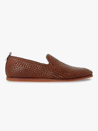 Bertie Bayron Woven Leather Slipper Loafers, Tan