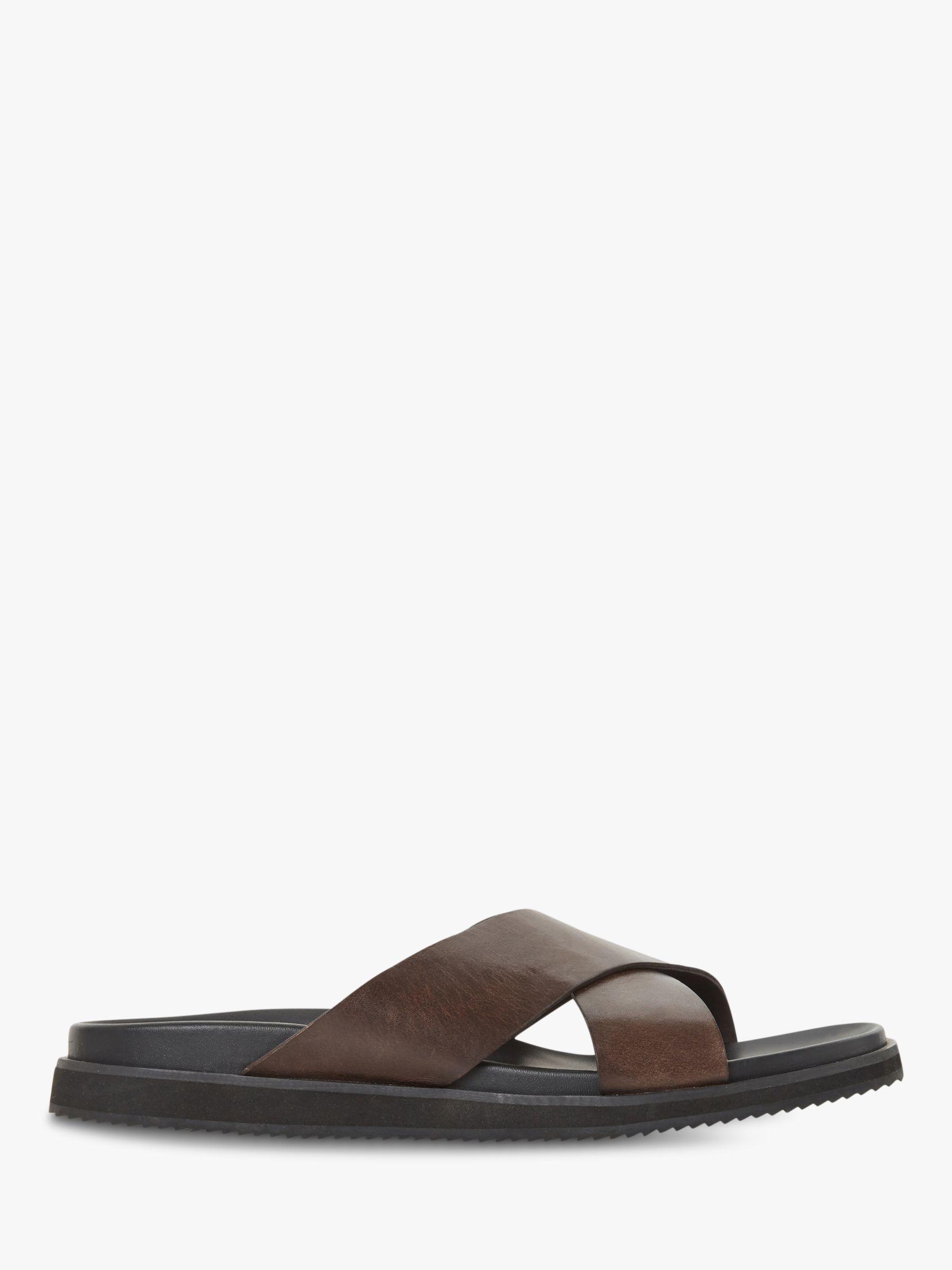 Bertie Bertie Idiom Leather Cross Strap Sandals, Brown